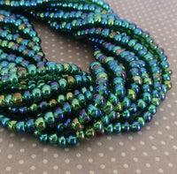 Green Transparent AB 6/0 Czech Glass 4.1 mm Beads – 6 Strands of 150 Beads