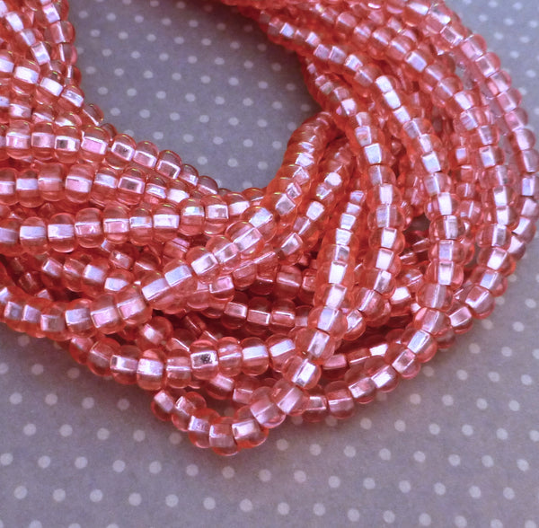 Solgel Light Pink Silver Lined 6/0 Czech Glass Seed Beads 20 grams
