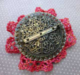 Lacy Embroidered Brooch with Dragonfly