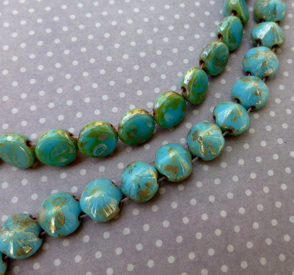 Tipp Beads 8mm Turquoise Blue Picasso Strand of 20