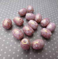 30 Pink Barrel Beads Gold Luster