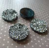 Resin Silver Druzy Cabochon 18mm Pack of 10