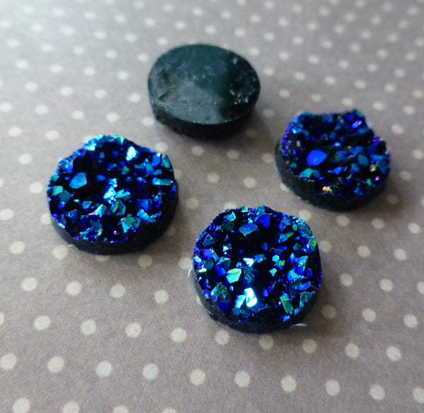 Resin Blue Druzy Cabochon 12mm Pack of 10