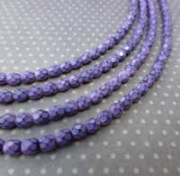 Fire Polished Snake Beads 4mm Lilac Strand of 38