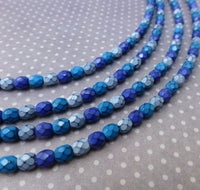 Fire Polished Snake Beads 4mm Ocean Mix Strand of 38