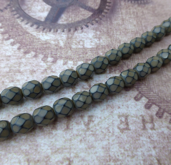 Fire Polished Snake Beads 6mm Sand Strand of 25
