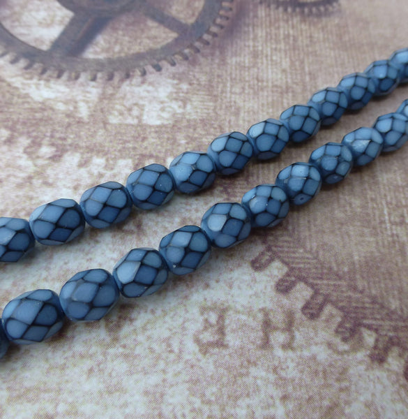 Fire Polished Snake Beads 6mm Placid Blue Strand of 25