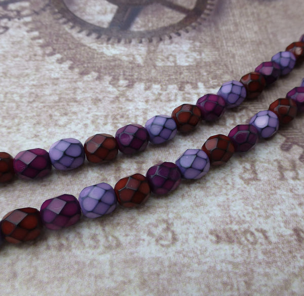 Fire Polished Snake Beads 6mm Berry Mix Strand of 25