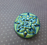 Czech Handmade Glass Button 26 mm Blue Green and Gold