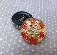 Czech Handmade Glass Button Red and Yellow Flower Pack of 2