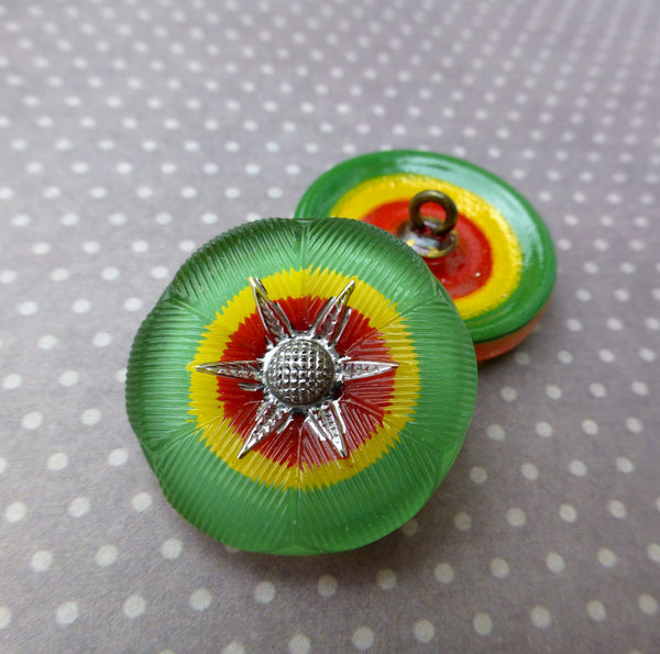 Czech Handmade Glass Shank Button Green Red and Yellow Pack of 2