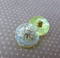 Czech Handmade Glass Button Lt Green with Lustre Pack of 2