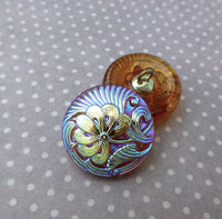Czech Handmade Glass Button Brown with Lustre Pack of 2