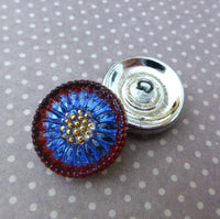 Czech Handmade Glass Button Blue and Gold Sunflower Pack of 2