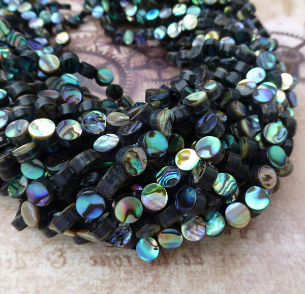 Strand of 60 Rainbow Abalone Beads 6mm Paua Shell Beads