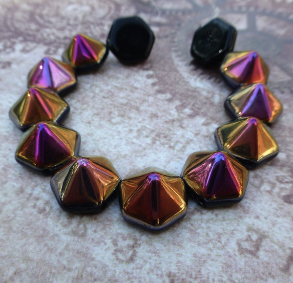 2hole Beads Pyramid Hex Jet Sliperit Strand of 12