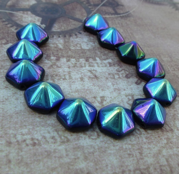 2hole Beads Pyramid Hex Jet AB Strand of 12
