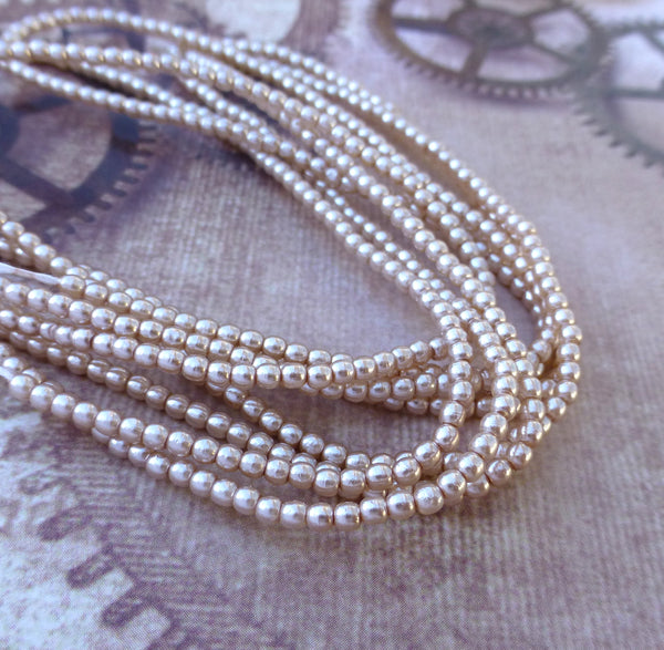Strand of 150 Faux Pearl Beads Mini Glass Pearls Mauve 2mm