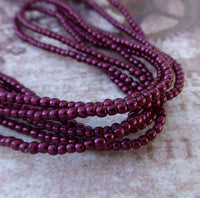 Burgundy 2mm Mini Glass Pearls Faux Pearl Beads Strand of 150 PRL02-17965