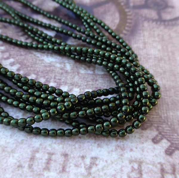 Strand of 150 Faux Pearl Beads Mini Glass Pearls Hunter Green 2mm