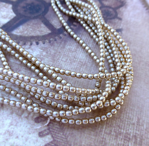 Strand of 150 Faux Pearl Beads Mini Glass Pearls Cocoa 2mm