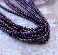 Strand of 150 Faux Pearl Beads Mini Glass Pearls Eggplant 2mm