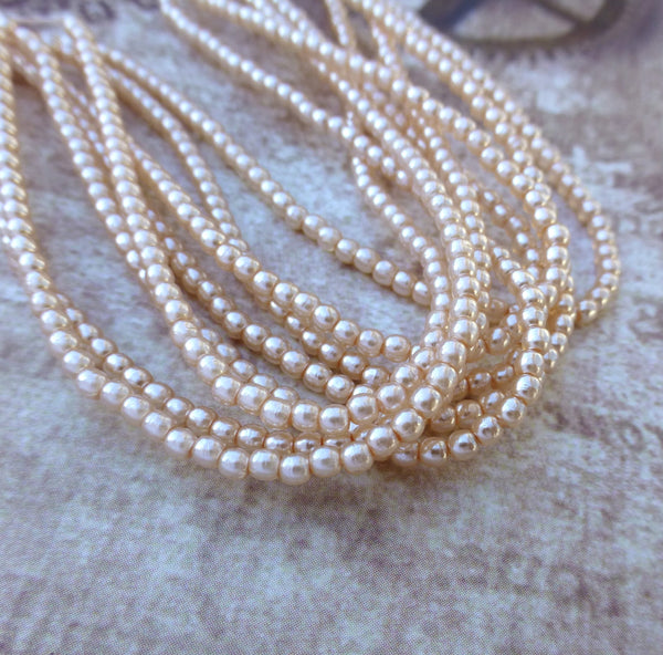 Strand of 150 Faux Pearl Beads Mini Glass Pearls Pink 2mm