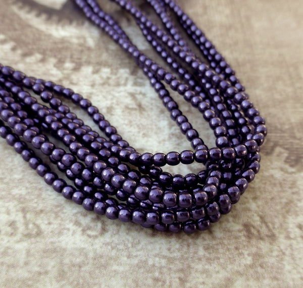 Strand of 150 Faux Pearl Beads Mini Glass Pearls Purple 2mm