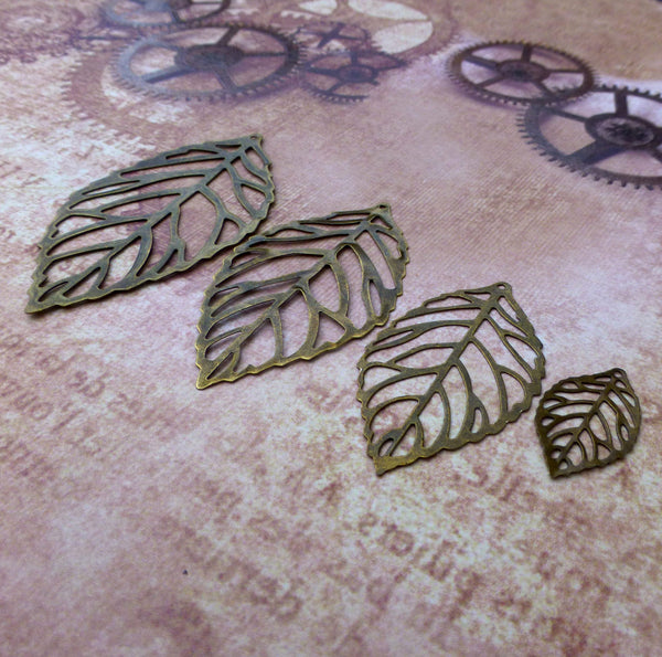 54 mm Filigree Leaf Pendants Pack of 10