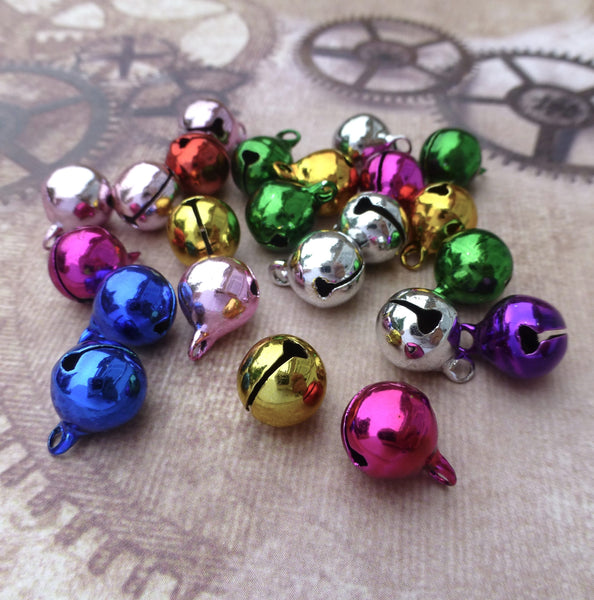 Colourful 10mm Jingle Bells with Loop Pack of 30