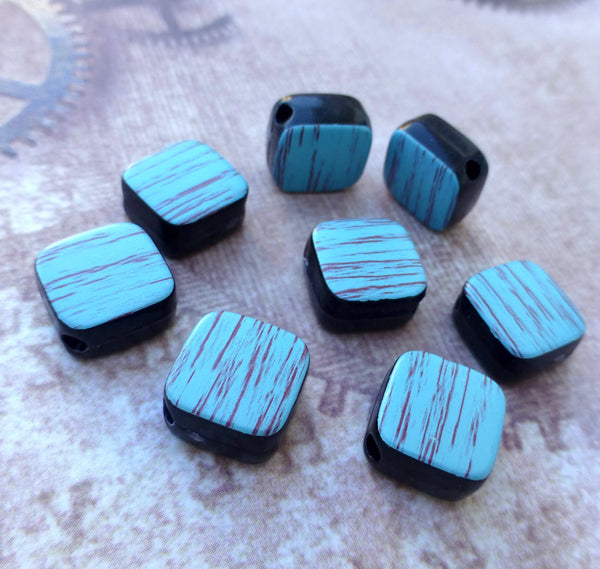 Plastic Blue Square Beads Pack of 40