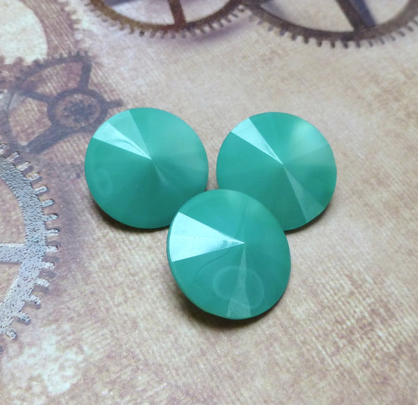 Turquoise Green 20 mm Matubo Rivoli Faceted Cut Glass Pack of 2