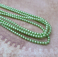 Strand of 150 Faux Pearl Beads Mini Glass Pearls Chrysolite 2mm