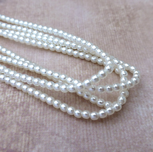 Strand of 150 Faux Pearl Beads Mini Glass Pearls White 2mm