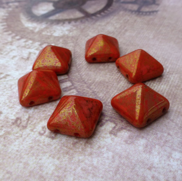 Pyramid Stud 12mm Two Hole Beads Coral Lumi Pecan 12 Beads