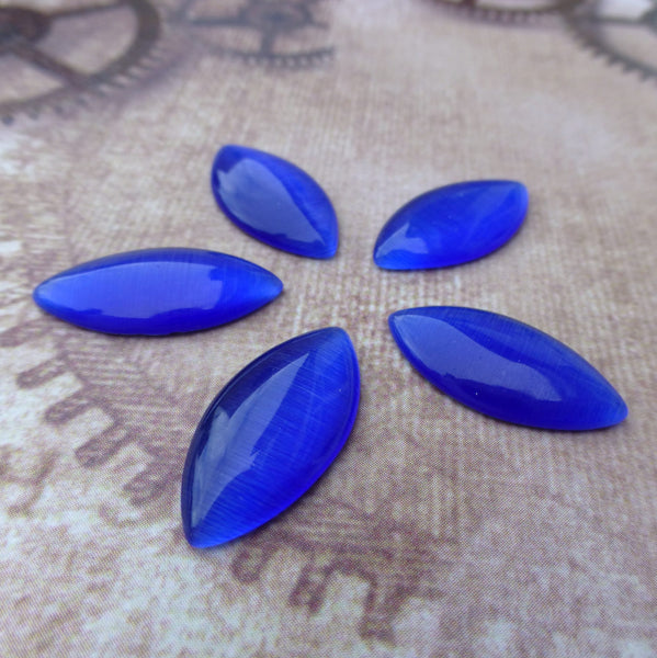 Cats Eye Cabochon Navette Dark Blue Pack of 10