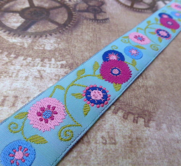 Floral Suzani Blue Ribbon by LFN Textiles 1 Meter