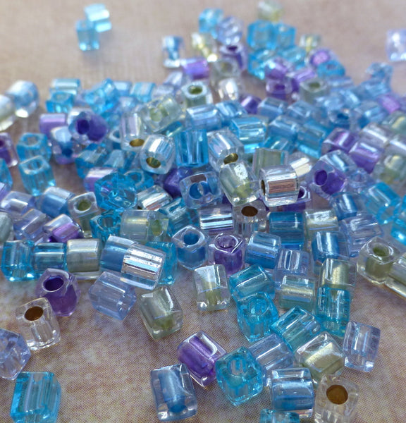 3mm Miyuki Cubes Glass Beads Mix Serenity 20 Grams SB3-MIX08