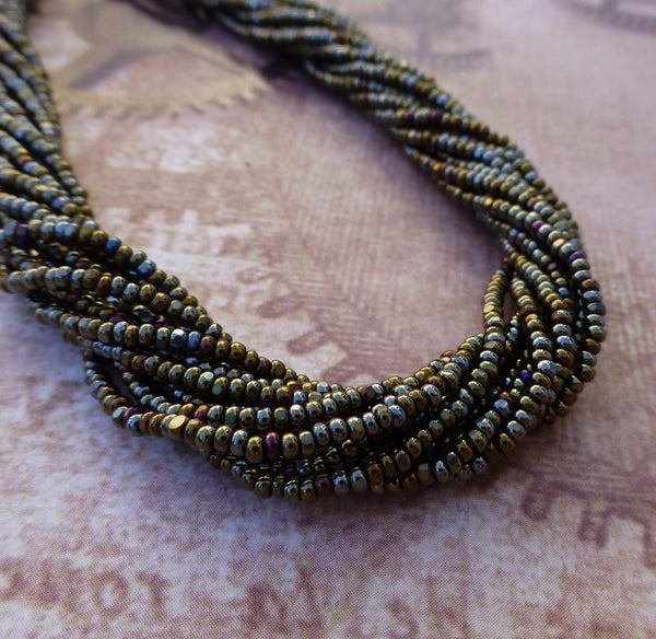 Brown Iris Glass Seed Beads Charlotte 6 Strands
