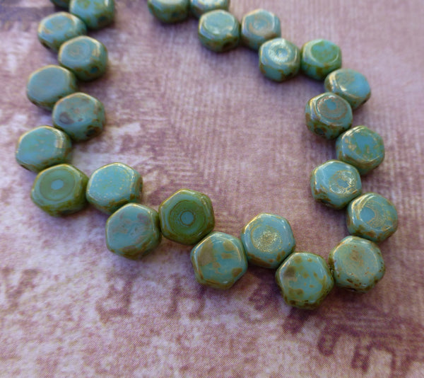 Turquoise Picasso Honeycomb Beads Strand of 30