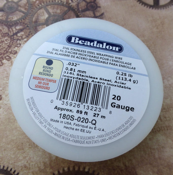 316L Stainless Steel Wire Round 20 Gauge Beadalon 27 Meters