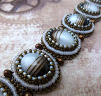 Brown and White Bead Embroidery Bracelet