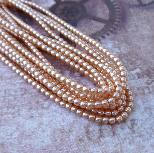 Strand of 150 Faux Pearl Beads Mini Glass Pearls Peach 2mm