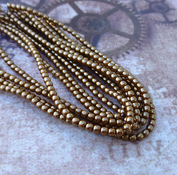 Strand of 150 Faux Pearl Beads Mini Glass Pearls Antique Gold 2mm
