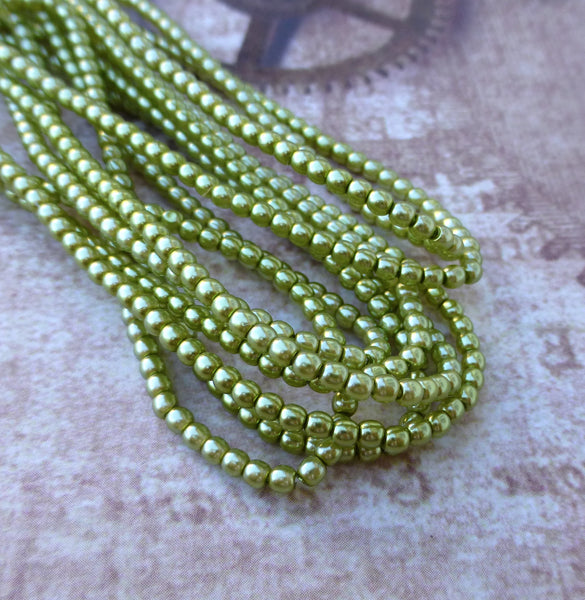 Strand of 150 Faux Pearl Beads Mini Glass Pearls Olivine 2mm