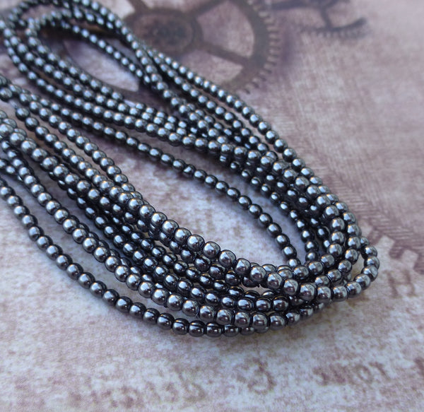 Strand of 150 Faux Pearl Beads Mini Glass Pearls Hematite 2mm
