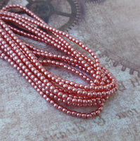 Strand of 150 Faux Pearl Beads Mini Glass Pearls Salmon 2mm