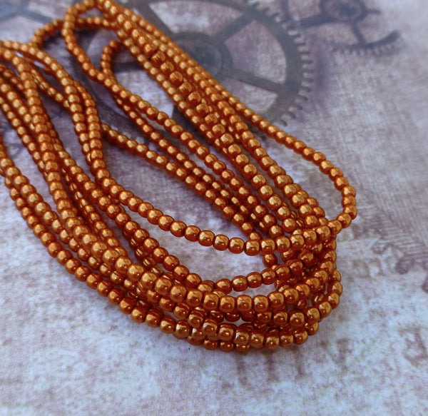 Strand of 150 Faux Pearl Beads Mini Glass Pearls Burnt Orange 2mm