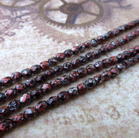 Fire Polished Beads 4mm Tweedy Red Strand of 40
