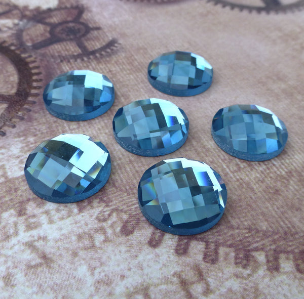 Pack of 6 Blue Glass Faceted Round Cabochon